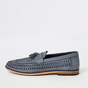 Blue leather woven tassel front loafers
