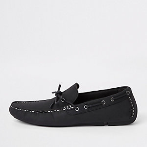 Black leather tumbled leather driving shoes
