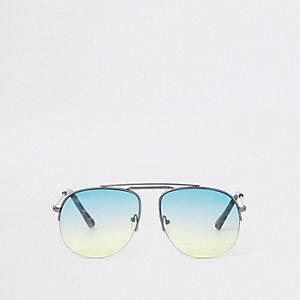 Lunettes de soleil aviateur argentées à verres verts