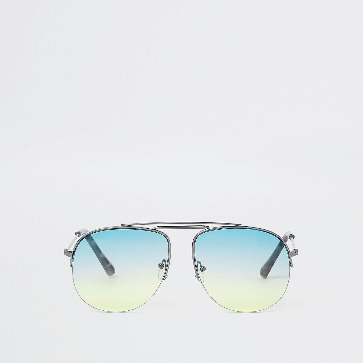 Silver tone green lens aviator sunglasses