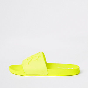Bright yellow embossed 'RVR' sliders