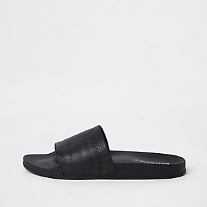 Black textured snake print sliders