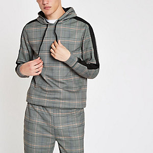Grijze geruite slim-fit hoodie