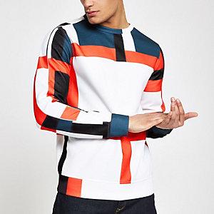 Blauw slim-fit sweatshirt met ronde hals en kleurvlakken