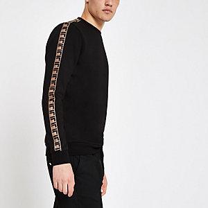 Zwart slim-fit sweatshirt met bies opzij