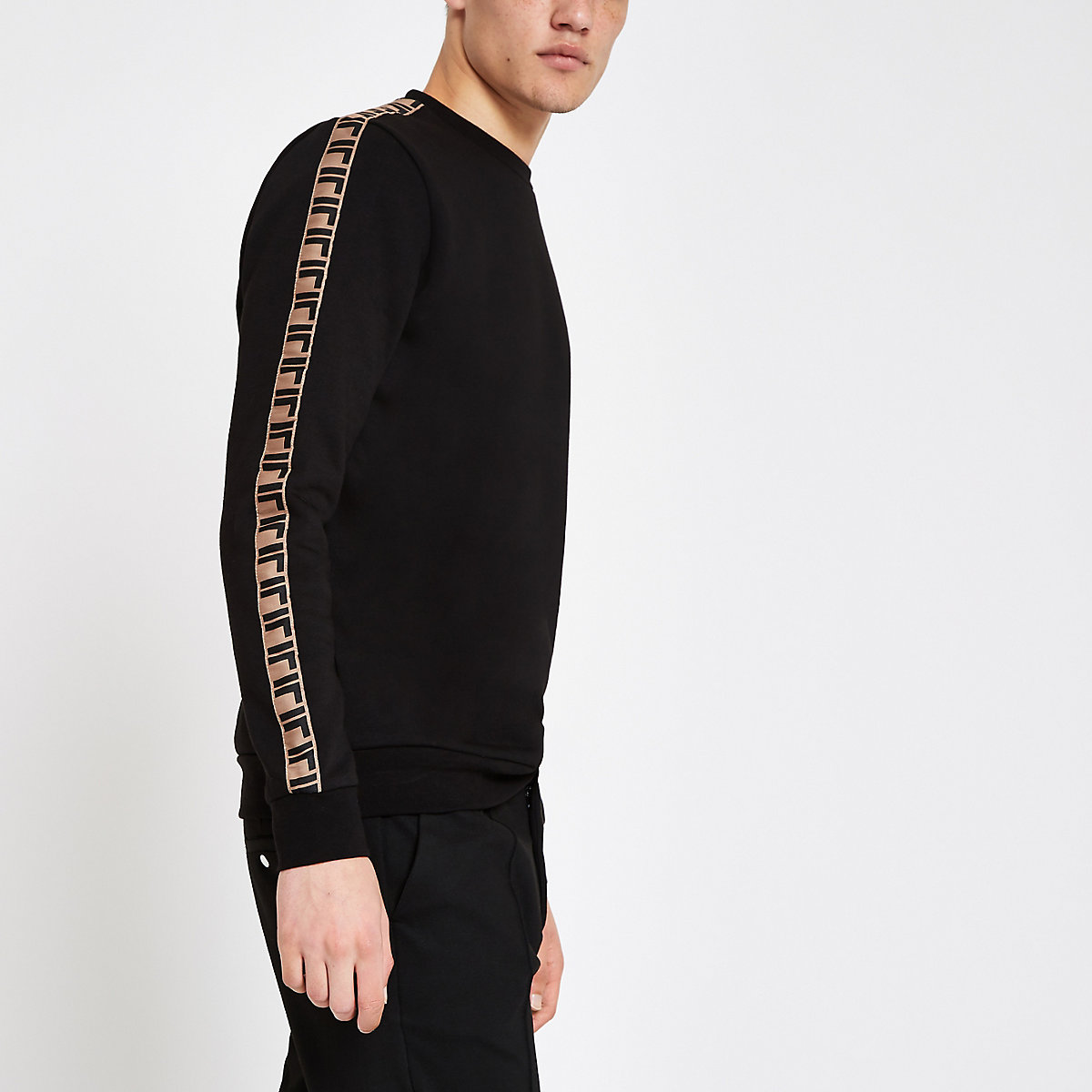Black slim fit tape side sweatshirt