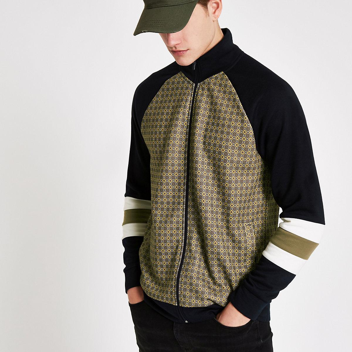 Black tile funnel neck slim fit track jacket