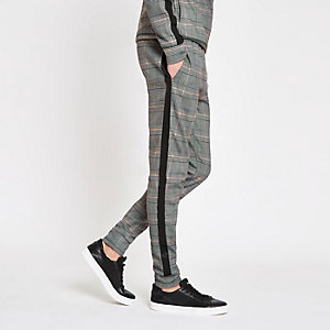 Grey check slim fit joggers