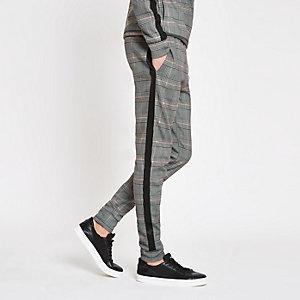 Pantalon de jogging slim à carreaux gris