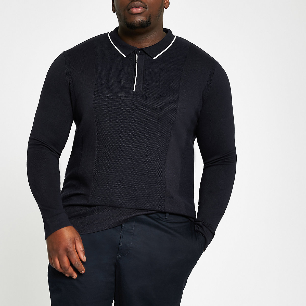 Big and Tall – Marineblaues, langärmliges Polohemd