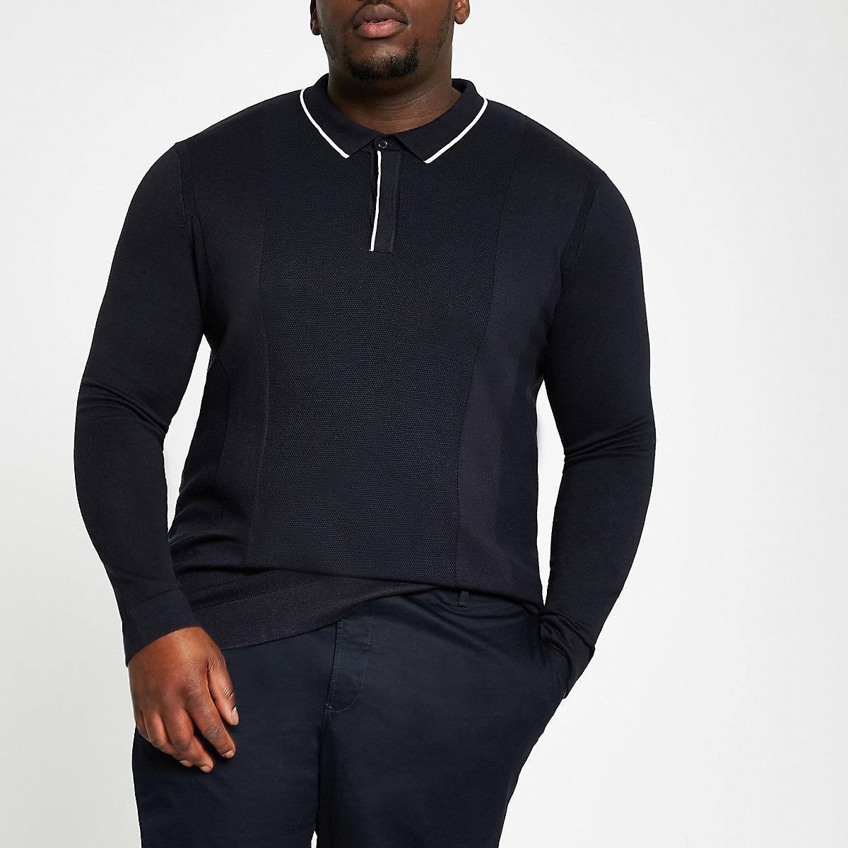 Big and Tall navy long sleeve polo shirt