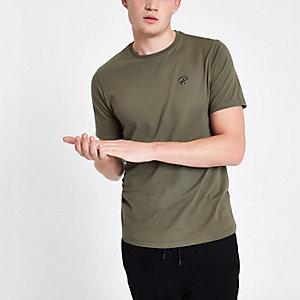 Kaki 'P.' slim-fit T-shirt met ronde hals