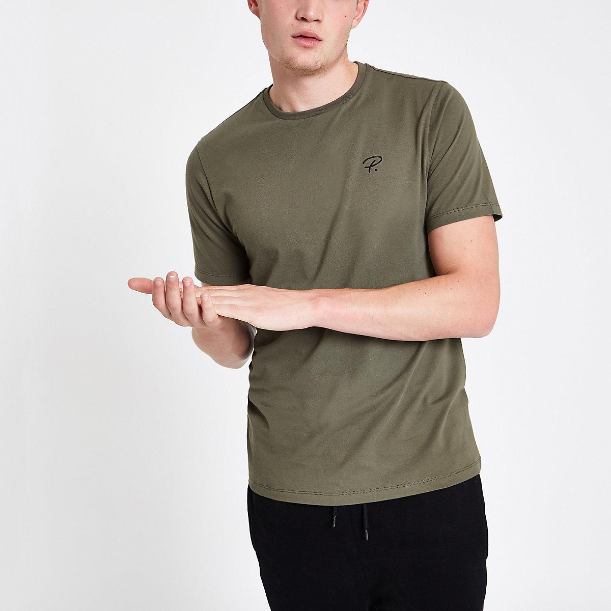 Khaki 'P.' slim fit crew neck T-shirt