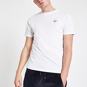 "Weißes Slim Fit T-Shirt ""P"""