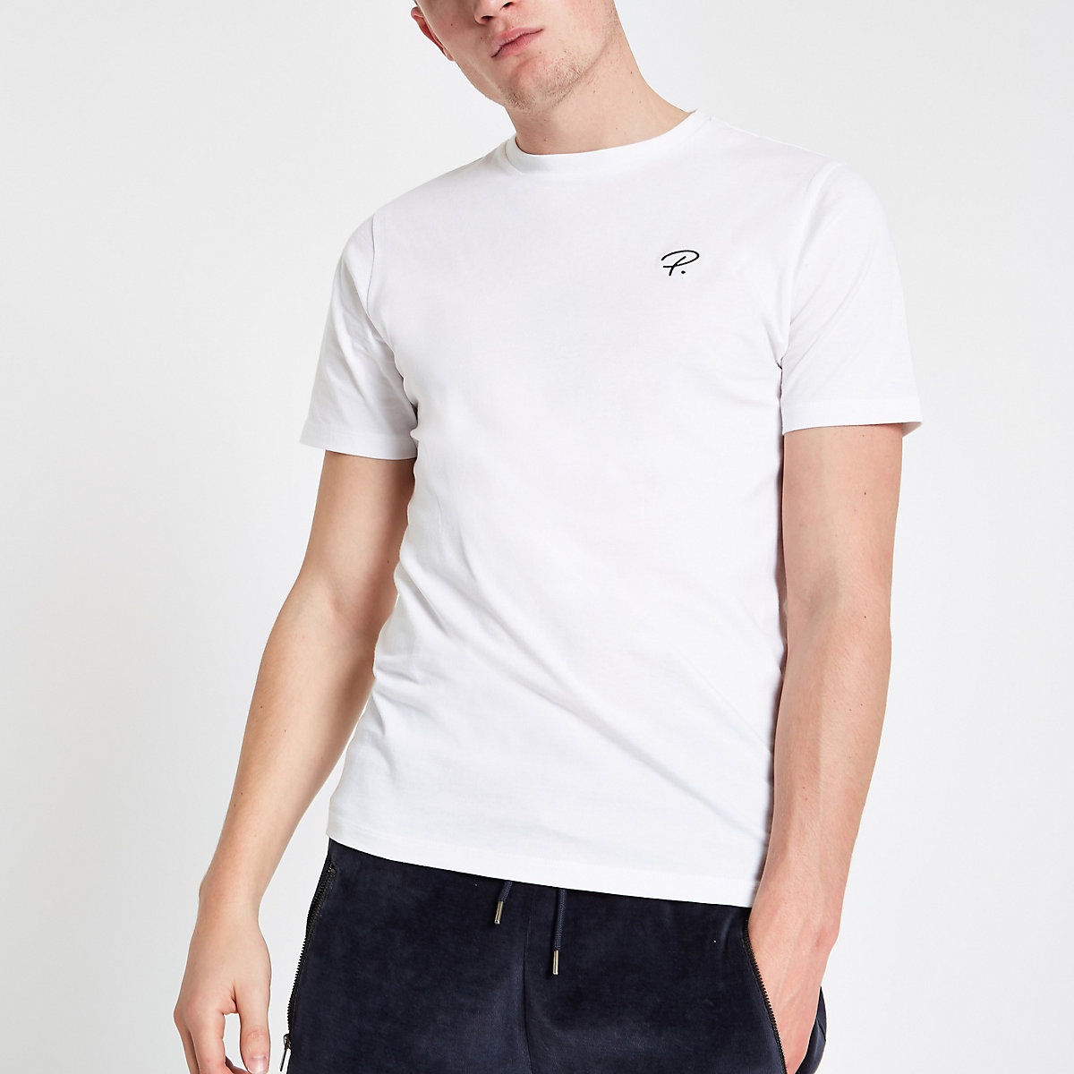 White 'P.' slim fit crew neck T-shirt