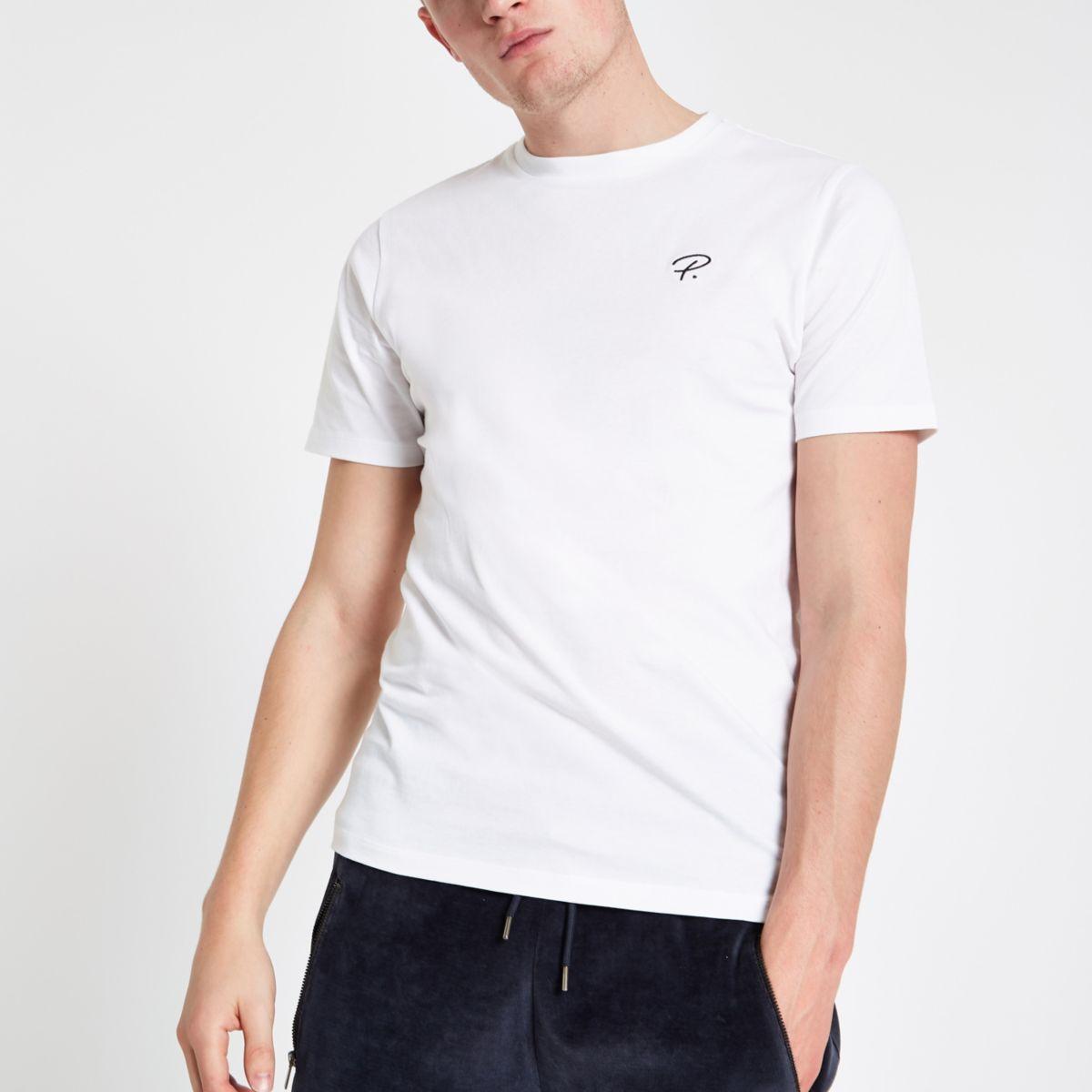 White 'P.' slim fit crew neck T-shirt
