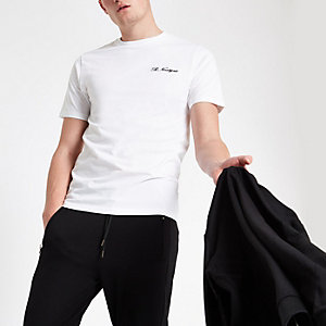 White 'R ninety six' slim fit T-shirt