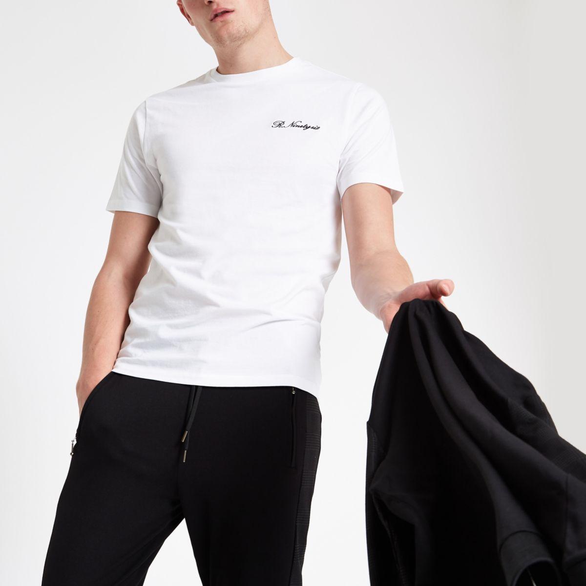 White 'R ninety six' slim fit T-shirt