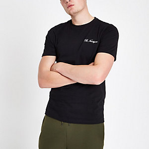 Black slim fit 'R ninety six' T-shirt