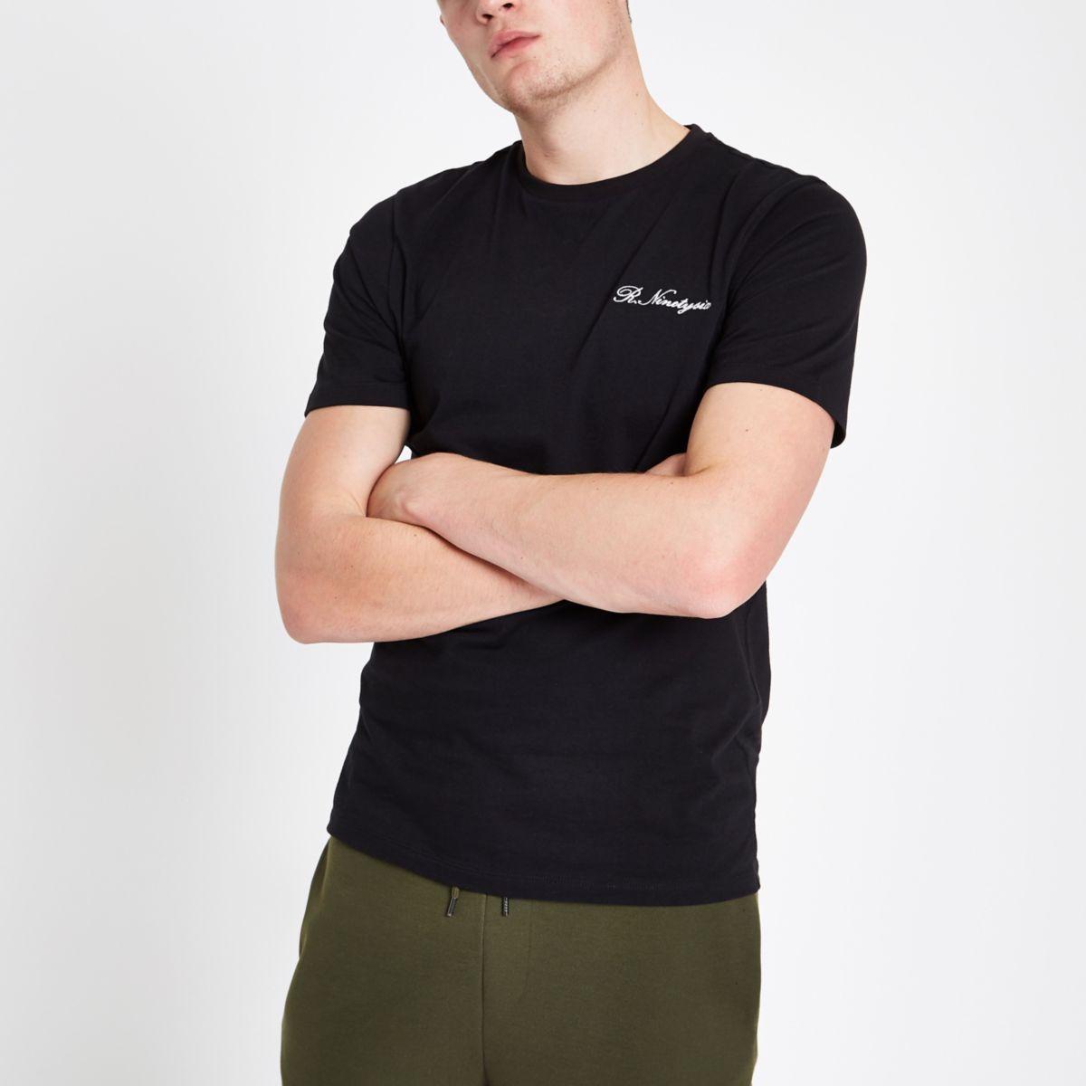 Black slim fit 'R ninety six' T-shirt