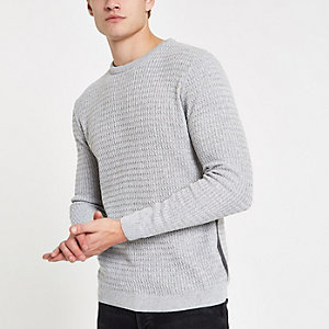 Grey cable knit muscle fit sweater