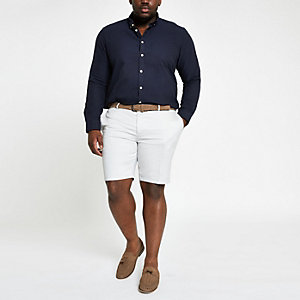 Big & Tall – Steingraue Slim Fit Chino-Shorts