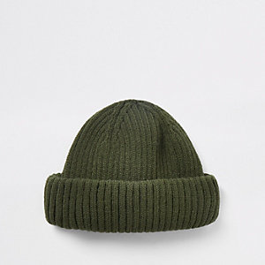Khaki green mini fisherman beanie hat