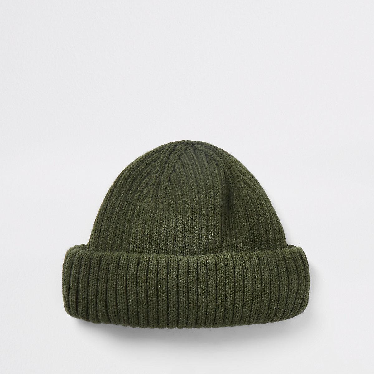 Khaki green mini fisherman beanie hat