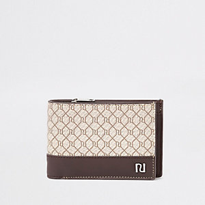 Ecru uitvouwbare portemonnee met RI-monogram