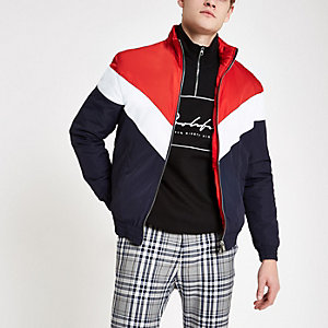 Red chevron funnel neck padded jacket