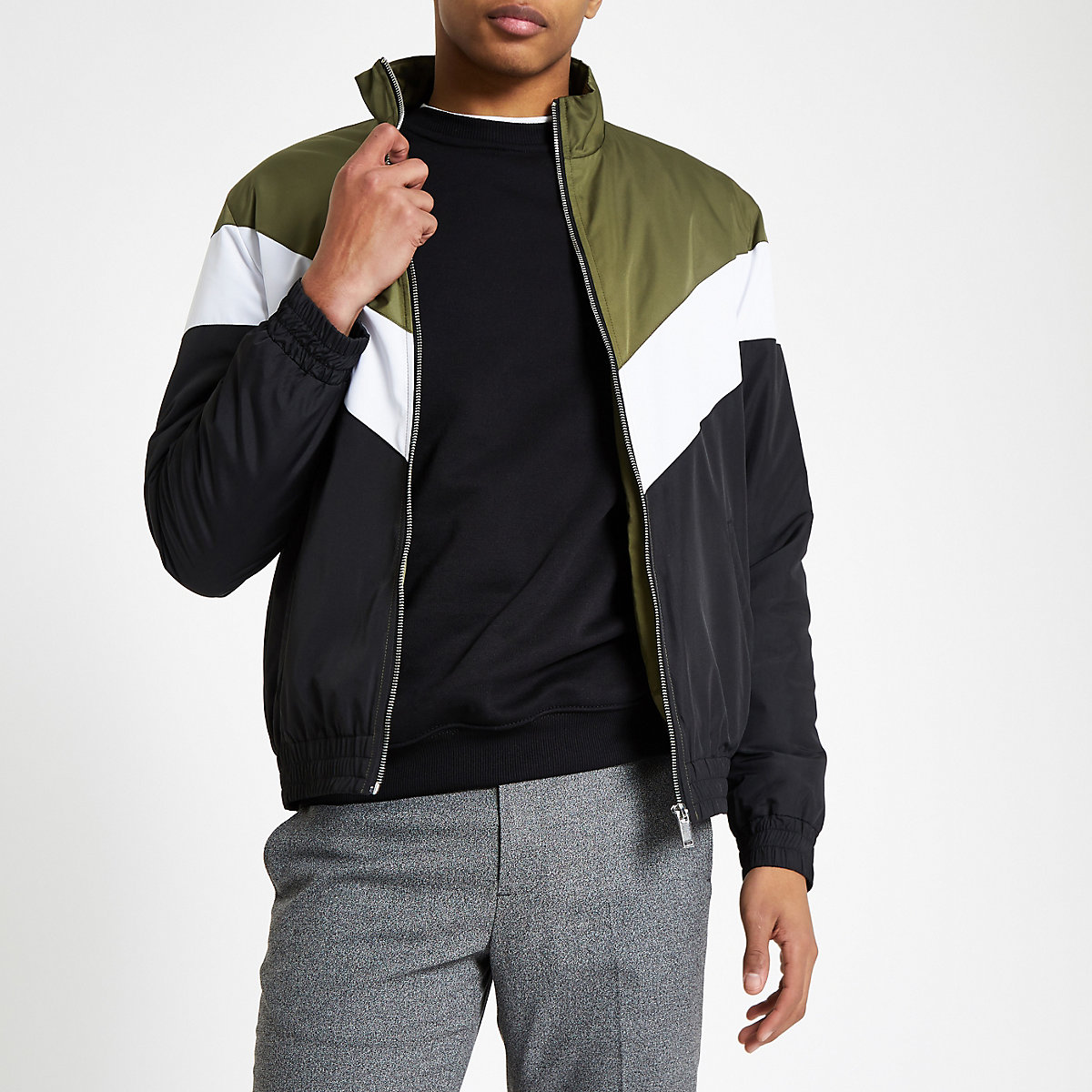 Dark green chevron funnel neck padded jacket