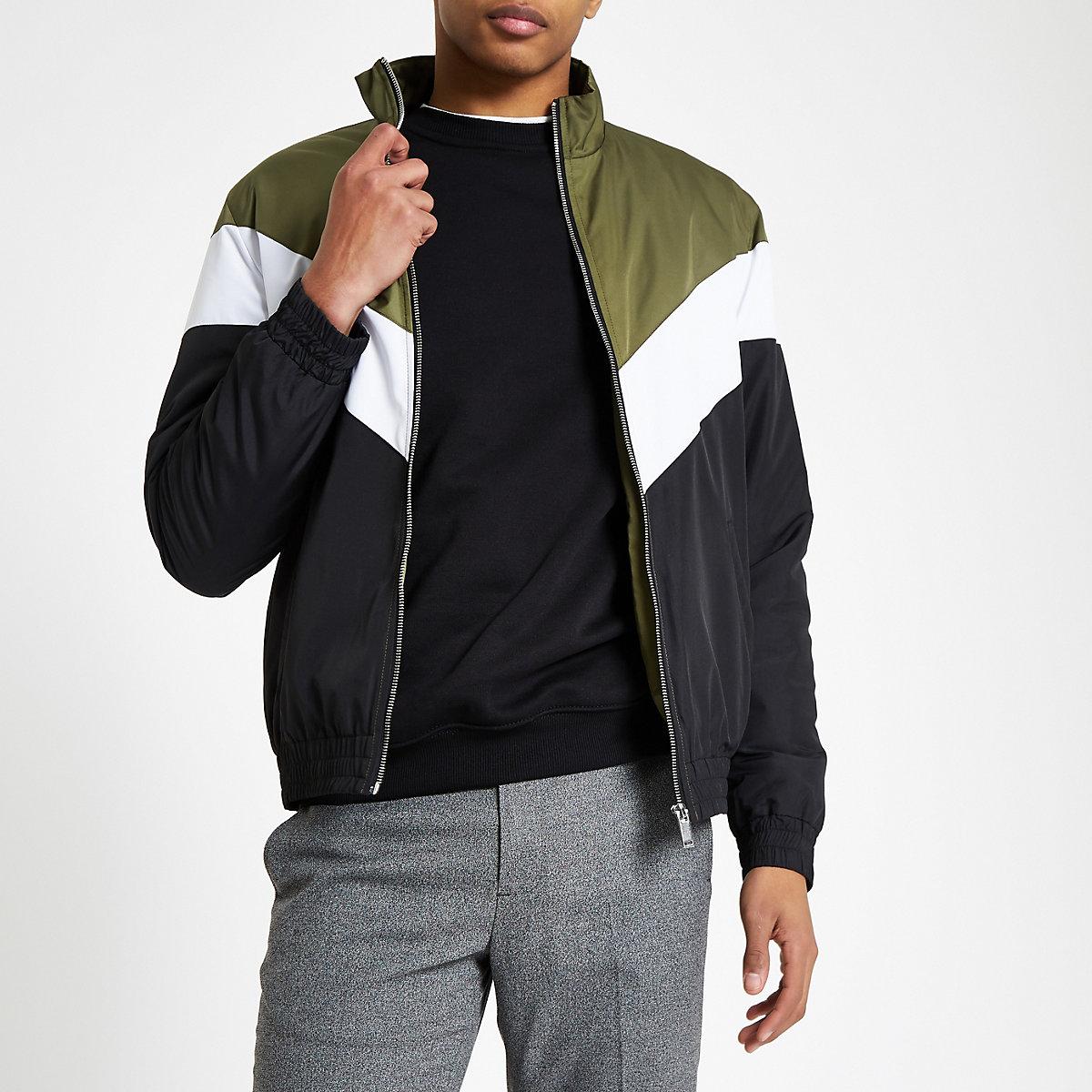 Dark green chevron funnel neck padded jacket