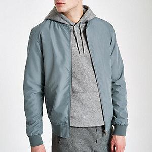 Blue long sleeve bomber jacket