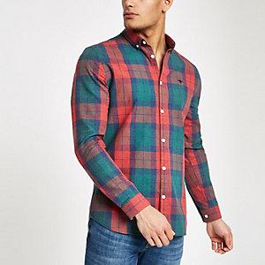 Rood geruit regular-fit overhemd met geborduurde wesp