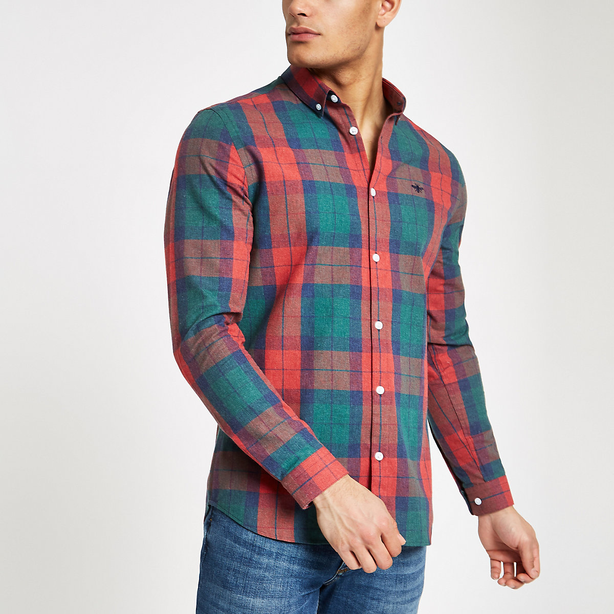 Red check wasp embroidered regular fit shirt