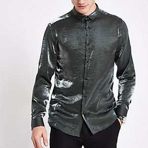 Slim Fit Langarmhemd in Grau-Metallic