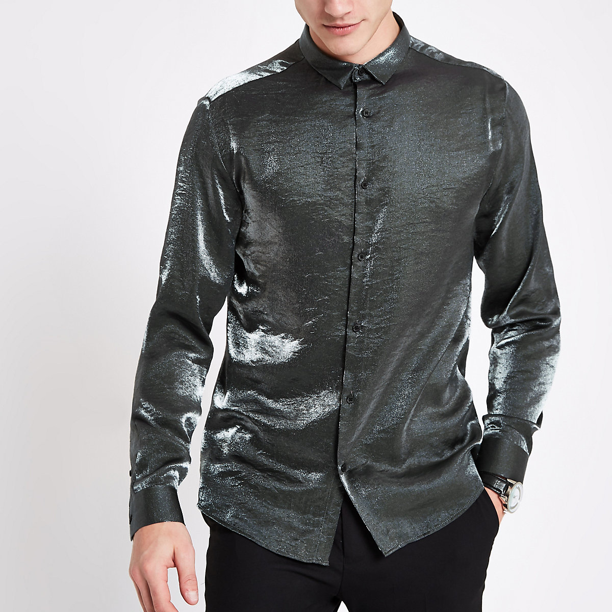 Grey slim fit metallic long sleeve shirt