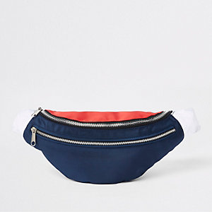 Navy 'Prolific' double zip cross body bag