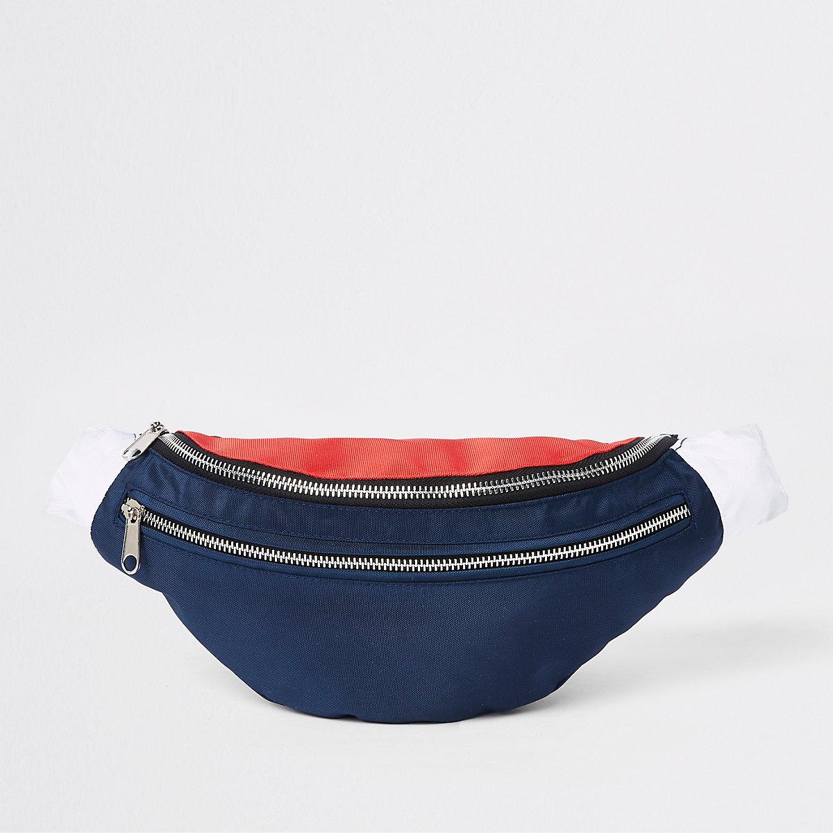 Navy 'Prolific' double zip cross body bag