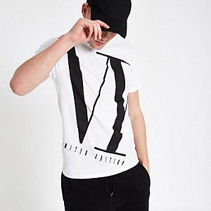 T-shirt slim «NY» blanc à col ras-du-cou