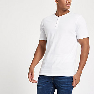 White slim fit button henley T-shirt