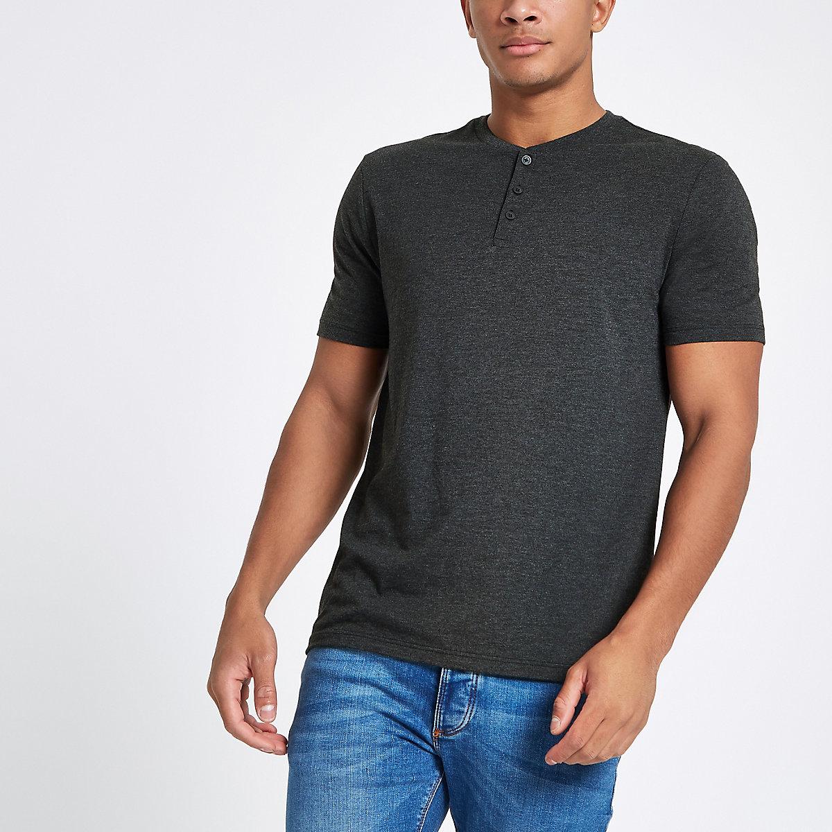 Grey slim fit button henley T-shirt
