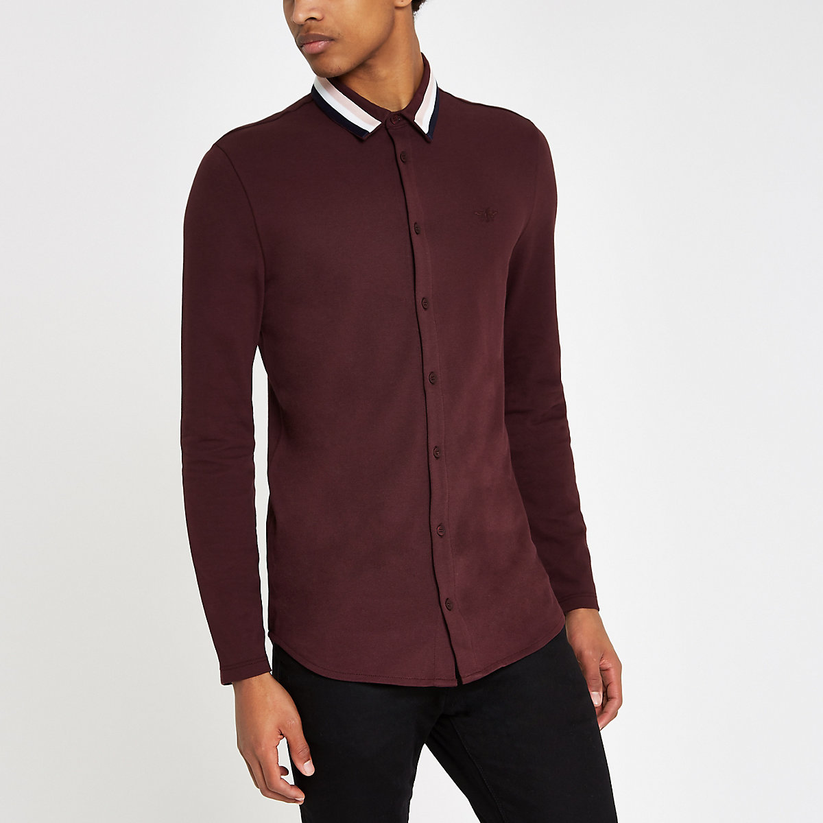 Burgundy muscle fit tape collar button shirt