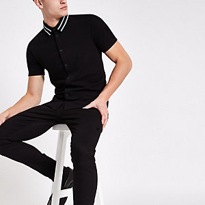 Black muscle fit tape collar button shirt