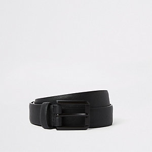 Big and Tall – Ceinture en cuir synthétique noire mate