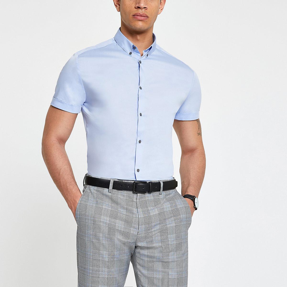 Light blue muscle fit poplin shirt
