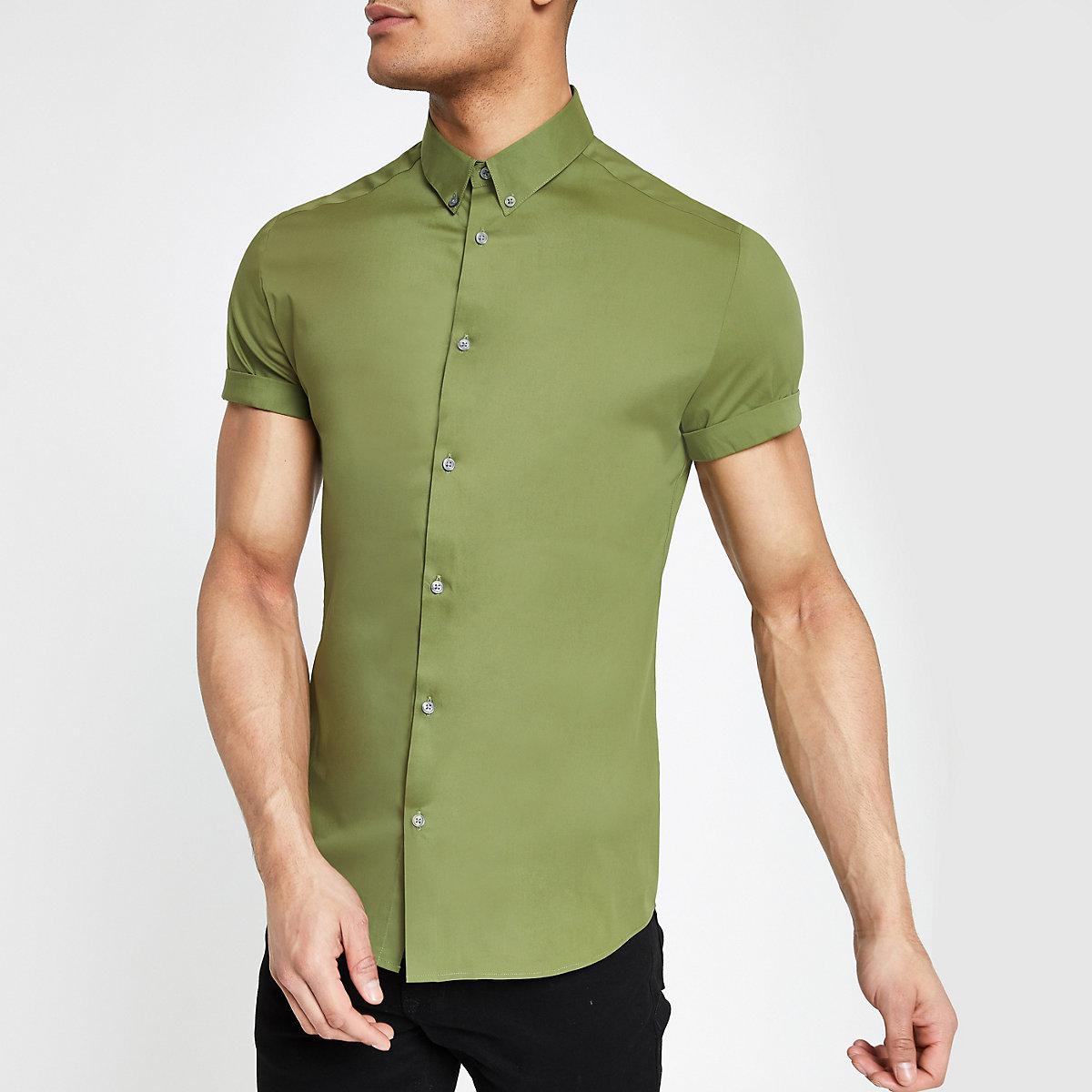 Khaki muscle fit short sleeve shirt