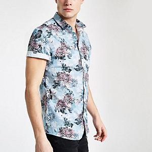 Blauw slim-fit overhemd met bloemenprint en korte mouwen