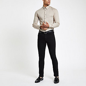 Stone poplin muscle fit long sleeve shirt