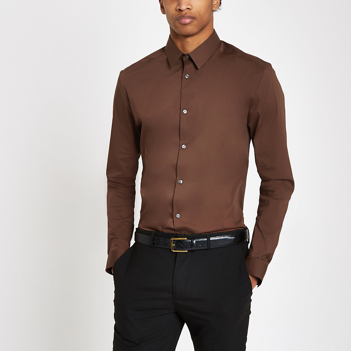 Brown poplin muscle fit long sleeve shirt